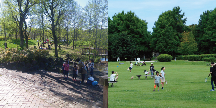 芝生と生態園